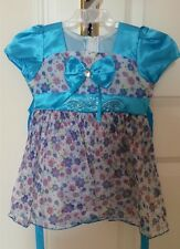 Mädchen Kleid Blumenmädchen Festkleid Tunika Rock Seide Gr. 86 blau bunt