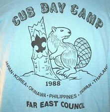 Vintage 80s Boy Scouts Cub Camp Day Adult Medium Large USA T-Shirt M L VTG 1980s