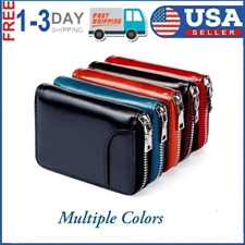 Men's Zipper RFID Blocking Premium Leather Zip-Around ID Bifold Wallet Pocket