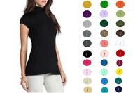 Women Premium Coton Short Sleeves Turtleneck Tops Tee T-Shirt Blouse S-4XL USA