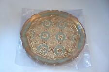 DECORATIVE HANDMADE WOODEN FLORAL PLATE WITH GOLD LEAF