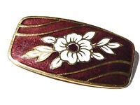 Bijou  alliage doré broche intemporelle fleur émaillée  brooch