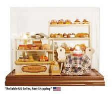 Dollhouse Miniature DIY Model Kit  With Voice Control Sensor Light, Case -Bakery