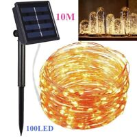 10M 100 LED Solarleuchte Draht Lichterkette Lichtschlauch Garten Deko Solarlampe