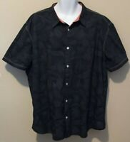 Cypress Club Mens Black with Palm Leaves Button-Front Short Sleeve Shirt Size M