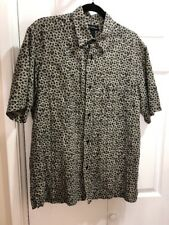 Axcess Claiborne Mens Linen Cotton SS Shirt Sz M Black & White Geometric 44x30