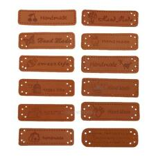12pcs PU Leather Tags On Clothes Garment Labels For Jeans Bags Shoes Sewing hv2n