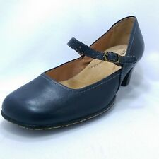 Softspots Mary Jane 6.5 W Blue Leather Classic Pumps Heels Round Comfort Shoes
