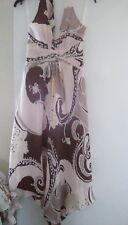 Pure Silk Cream Multicolour Handkerchief Maxi Halter Dress sz10. FAB-U-LOUS!
