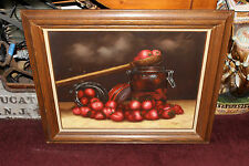 Stunning Still Life Oil Painting Strawberries Wood Spoon-Signed Riggs-Country