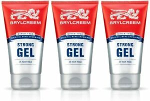 3 X Mens 150ml BRYLCREEM STRONG HAIR STYLING GEL 24 HOUR LONG HOLD LASTING