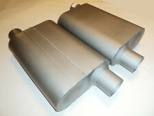 """NEW PERFORMANCE 2 CHAMBER MUFFLERS 40 SERIES PAIR 3"""" OFFSET IN/OUT ALUMINIZED"""