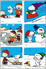 Snoopy Stickers x 6 - Birthday Party Loot - Charlie Brown Peanuts Winter Snow