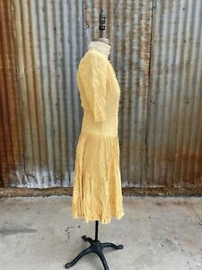 Antique 1930s Yellow Nubby Silk  Midi Dress Accordion  Pleated Skirt  Vintage