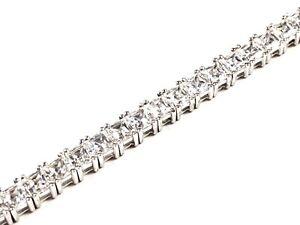 "Beautiful Ladies Sterling Silver Princess Cut CZ Tennis Bracelet - 7.5"" Length"