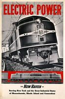 """Vintage Illustrated Travel Poster CANVAS PRINT Train Electric power 8""""X 12"""""""