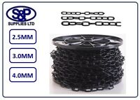 2.5mm, 3mm, 4mm STEEL CHAIN BLACK JAPANNED PLATED 1 MTR TO 10 MTRS