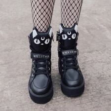 KILLSTAR Goth Scarpe Plateau-Keiko Kitty HIGH TOP SNEAKERS GATTI 37 EU - 4 UK