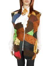 Woman GENUINE LEATHER Vtg Retro Patchwork Sleeveless Jacket Waistcoat sz M AM54