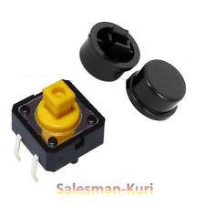 10x Taster mit Druckfläche Schwarz 12x12x7,5 /12 Button Mikrotaster mit Kappen