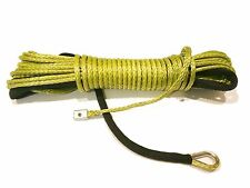 """ARMY GREEN Synthetic Winch Rope Line Cable 1/4"""" x 50' 7000 LB Rock Guard For ATV"""
