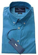 "Harmont & Blaine  XL  Chest 46""  Blue NARROW FIT Short Sleeve Shirt  RRP £115"
