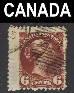 Canada Scott 43a chocolate shade Fine used with numerous printing flaws.