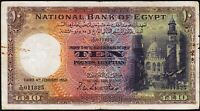 Egypt 10 Pounds 1950 , aVF , P-23c , Sign.Leith-Ross , MOSQUE OF SULTAN