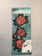 Iron-on Appiqués With Roses And Sequins 3 Pack