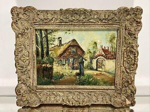 VTG.Oil Painting on Canvas Dutch Village Impressionist Signed Piet Picture Frame