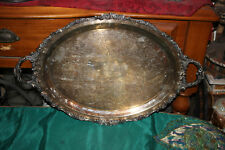 LARGE Antique Victorian Silver Metal Serving Platter Tray-Wallace Baroque