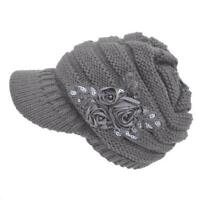 Casual Women Cable Knit Hat with Flower Accent Cute Visor Beanie Cap Softs Warm