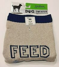 New listing Feed Me Dog Sweater Size Medium 17-22 inches Blue Tan Pet Clothes Sleeveless