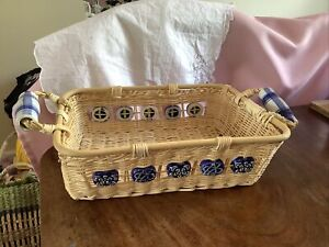 Large Woven Wicker Straw Decorative Serving Basket Tray with Ceramic Handles
