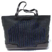 BOTTEGA VENETA Black Fabric Leather Trim Bead Embellished Blue Stitch Mini Bag
