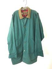 Woolrich Cotton Canvas Barn Jacket Coat Men's Size Large Long Lined Hunter Green