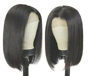 Straight Brazilian Natural Human Hair Lace Front Black Natural Color