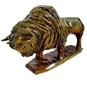 Vintage Big Bison Statue Buffalo Soviet Carved Wooden Ussr Sculpture Handicraft