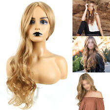 Womens Ladies Ombre Blonde Long Curly Wigs Natural Full Wavy Hair Cosplay Wig