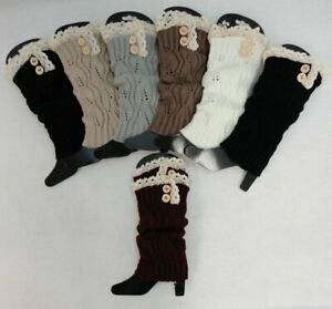 Ladies Boot Cuffs Knitted ANTIQUE LACE WITH 2 BUTTONS Women's Leg Warmer Cuff
