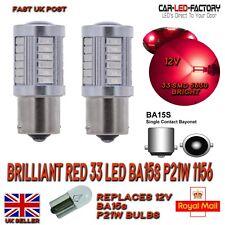 x2 BRAKE Lights Brilliant RED LED Upgrade Bulbs BA15s P21W 1156 33 SMD 5630 12V