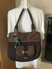 FOSSIL Quilted KEY PER Coated Canvas  Leather  TOTE SHOULDER BAG HANDBAG EUC!
