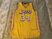 RARE Lakers Shaquille O'Neal Lakers Jersey XL Home Links Marketing Retro Yellow