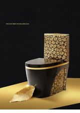 Black TOILET DESIGN  MODEL  WITH GOLD FLOWERS  WC