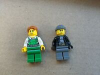 LEGO City BANDIT Lot Mini Figure green gray overalls beanie red hair worker tool