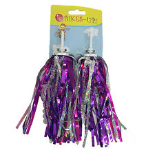 Bike Streamers Girls Handlebar Grips Tassels SILVER PRUPLE with BEADS for Kids