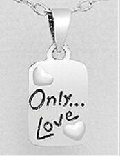 "925 Sterling Silver ""only Love"" Valentine Pendant - Hallmark 925"
