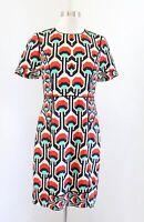 Milly of New York Bold Geometric Print Short Sleeve Silk Sheath Dress Sz 4 Beige