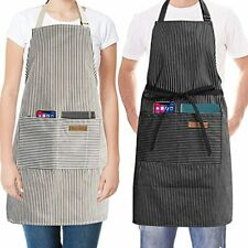2 Pack Chef Cooking Kitchen Apron With Pockets For Women Men Waterproof Adjus