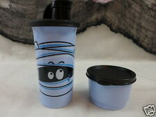Tupperware Halloween Tumbler & Snack Cup Tupperware Kids Mummy Pale Blue & Black